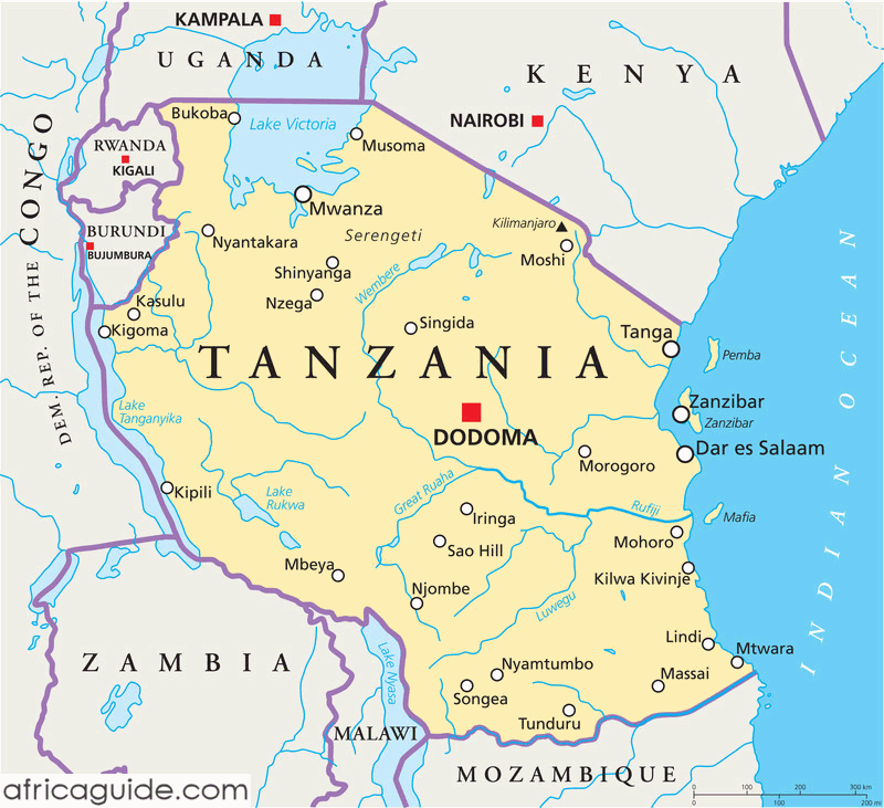 cartina tanzania